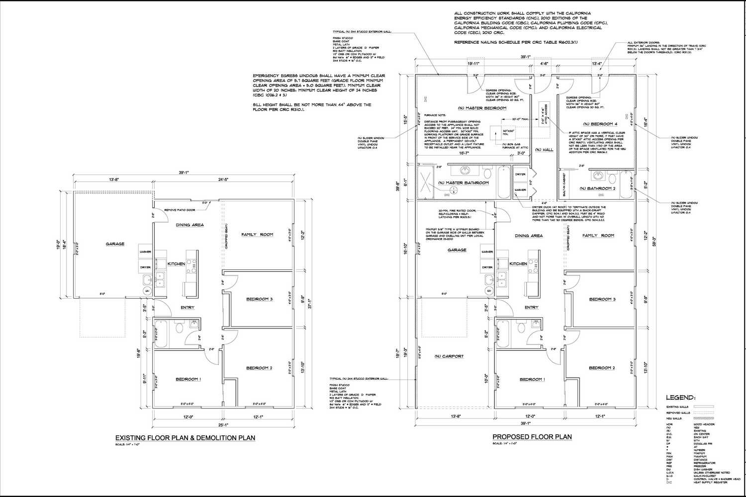 Title 24 energy calculations for California garage plans